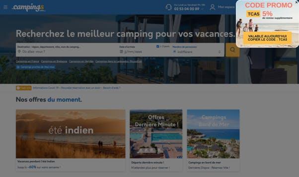 Campings.com, campagne code promotionnel avec Wisepops