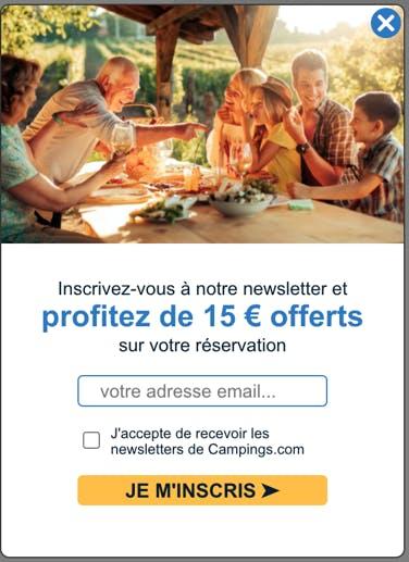 Campings.com, collecte onsite avec wisepops
