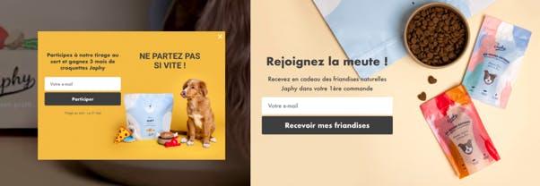 Japhy, campagnes de collecte email onsite avec Wisepops