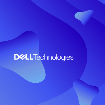 Floating 3 images in blue gradients with DELL Technologies logo