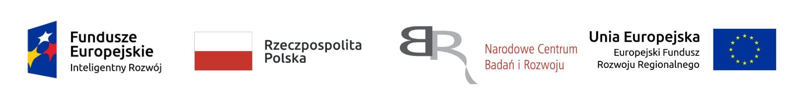 Fundusze Europejskie Inteligentny Rozwój, Rzeczpospolita Polska, Narodowe Centrum Badań i Rozwoju, Unia Europejska Europejski Fundusz Rozwoju Regionalnego logos