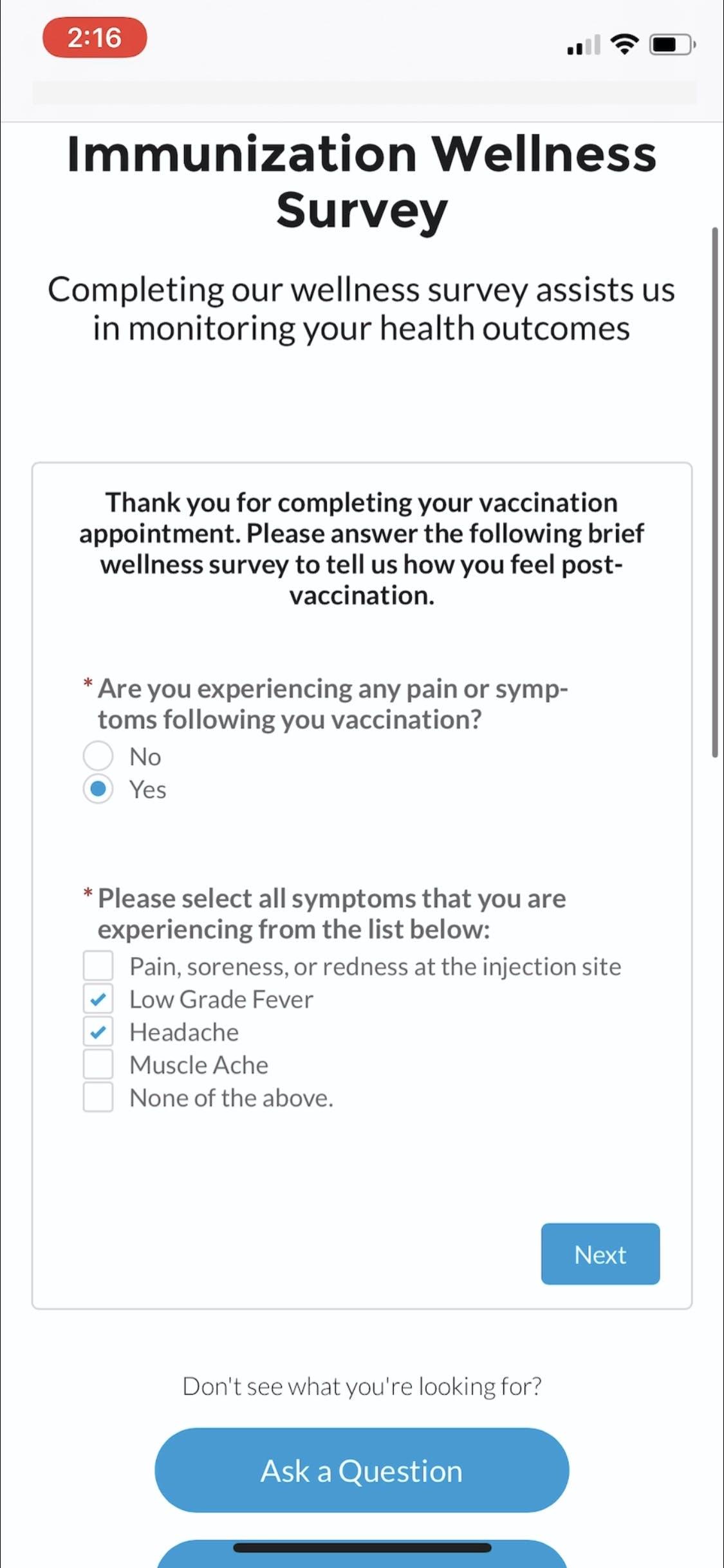 Vaccination Outcome Monitoring
