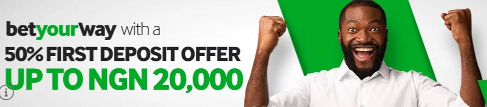 Betway Nigeria welcome offer - 50% first deposit offer up to NGN 20,000