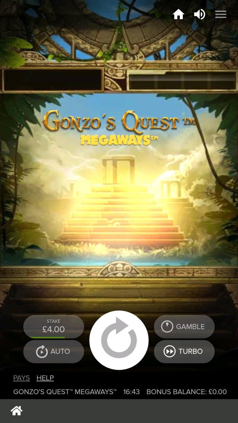 Pantalla de Gonzo's Quest.