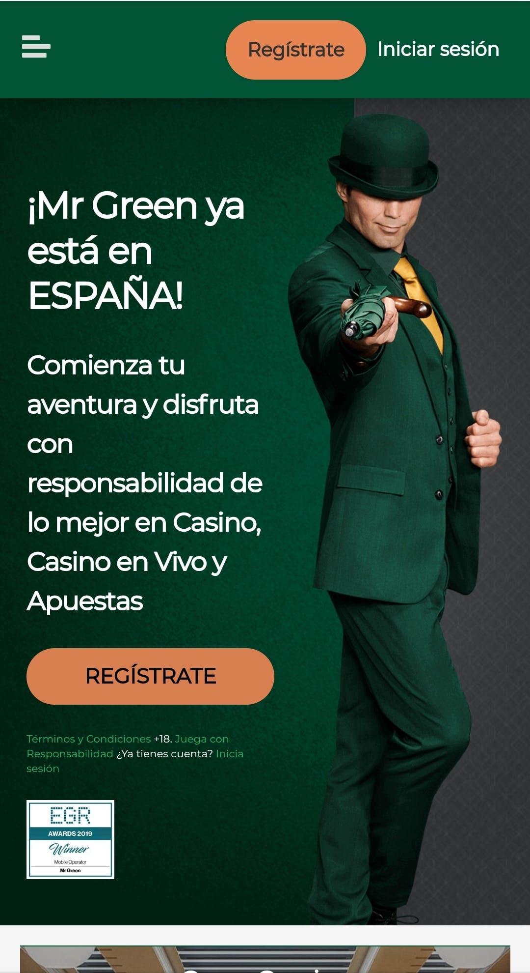 página de inicio de MrGreen España.
