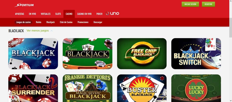 Juegos de blackjack en Sportium