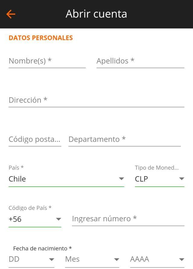 Formulario de registro de Betsson Chile