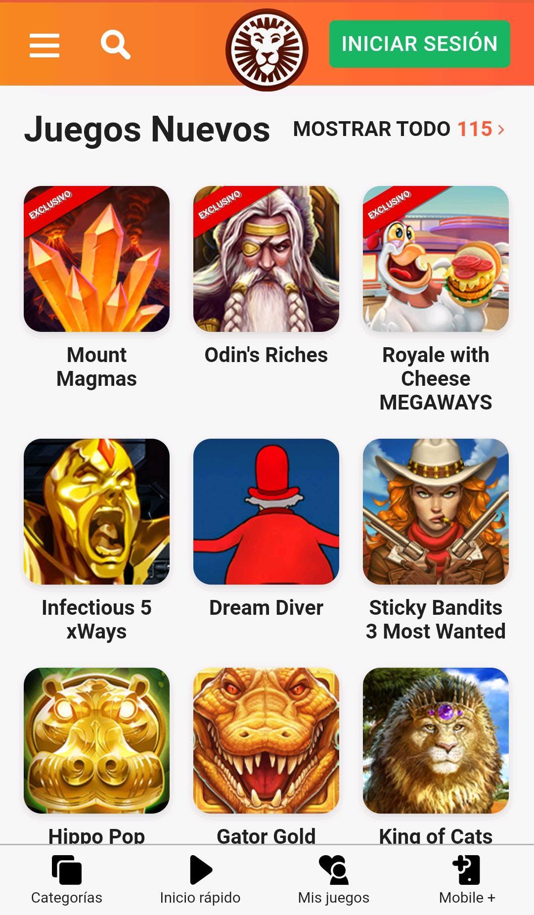Catálogo de juegos de casino de LeoVegas