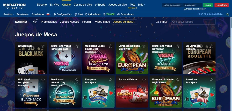 Juegos de casino en Marathonbet.