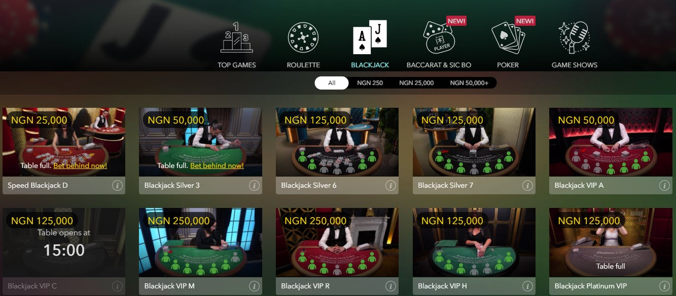 Betway Nigeria - online blackjack