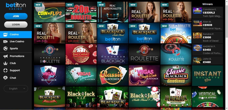 Juegos de mesa en Betiton casino