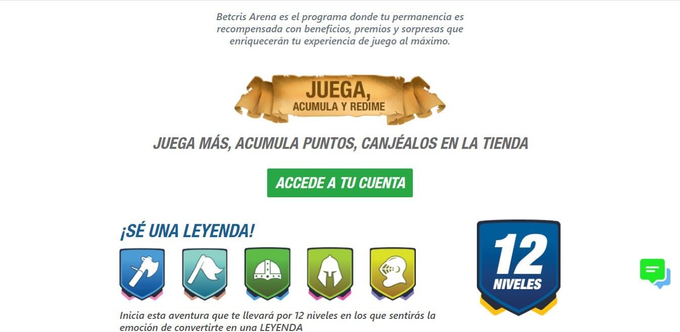 Programa de lealtad de Betcris México.