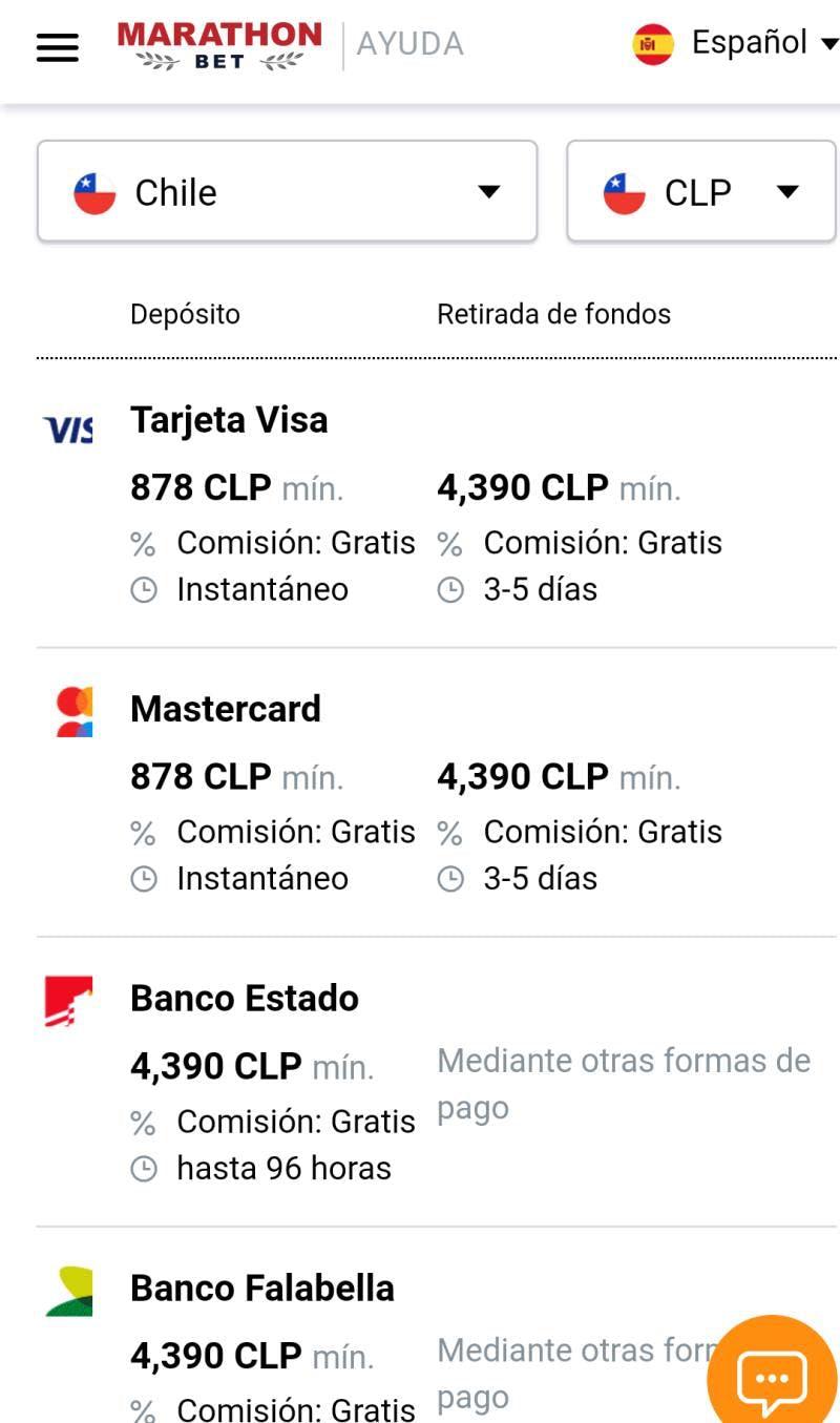 Métodos de pago de Marathonbet Chile.