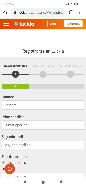 formulario para registrarse en Luckia