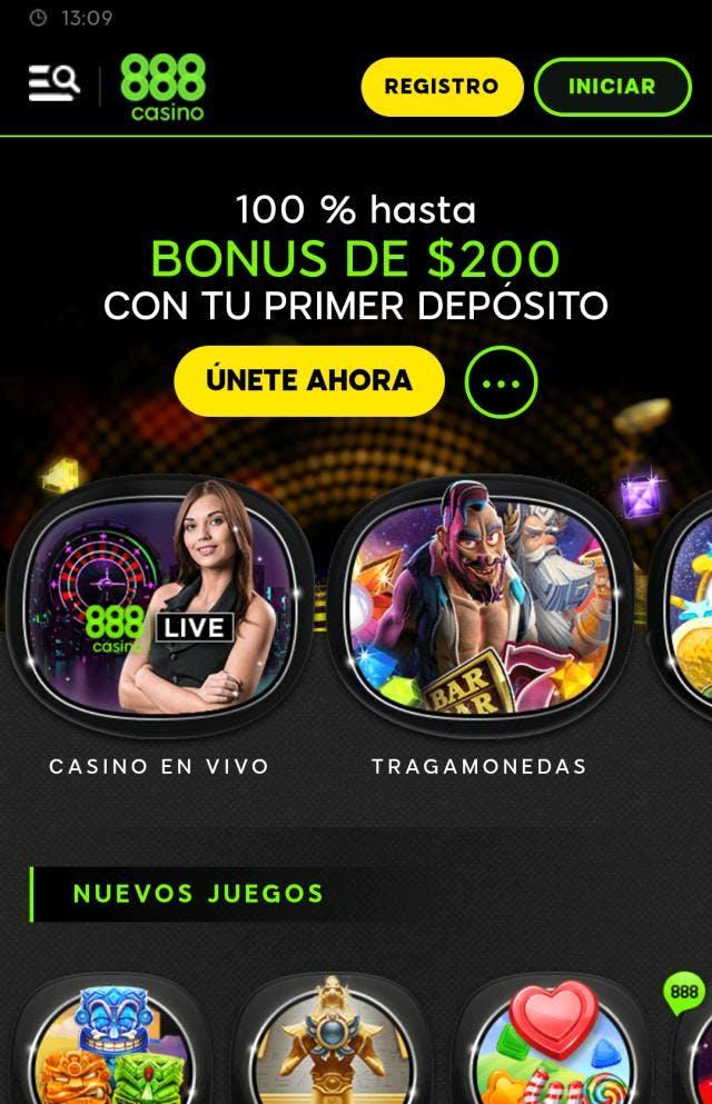 Página de inicio de 888 casino Chile.