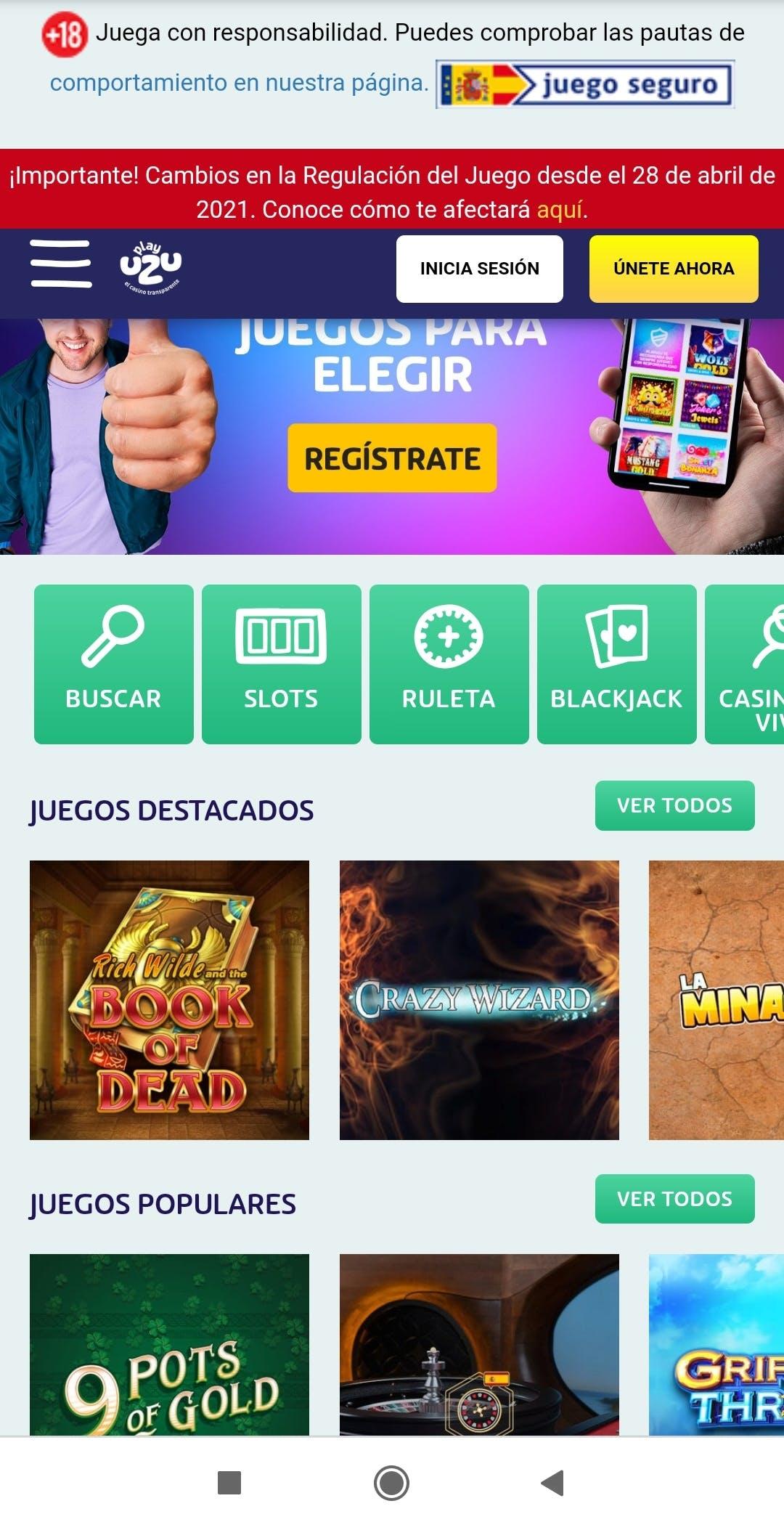 Página de inicio de PlayUZU