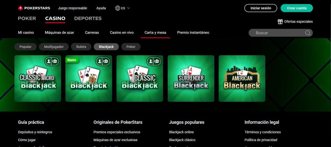 blackjack en Pokerstars