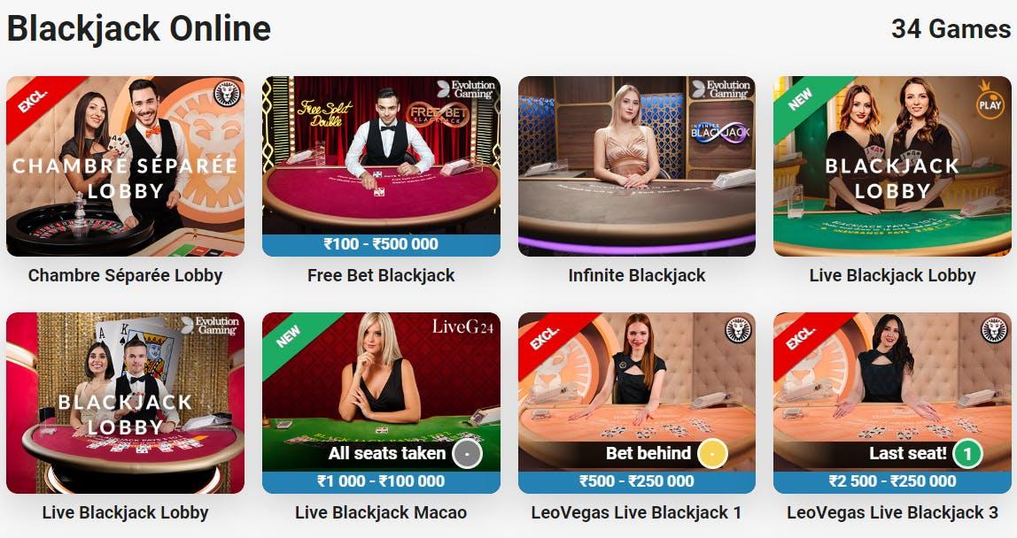 LeoVegas India - Online blackjack live casino games