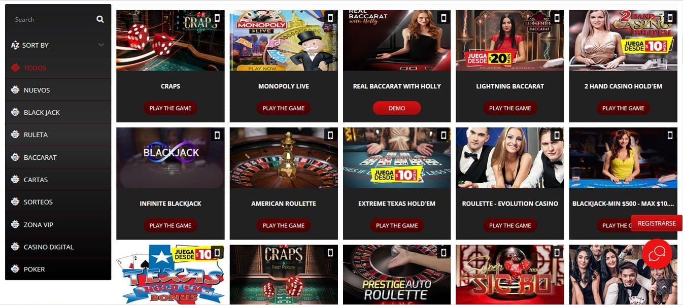 Juegos de casino en vivo en Mustangmoney.