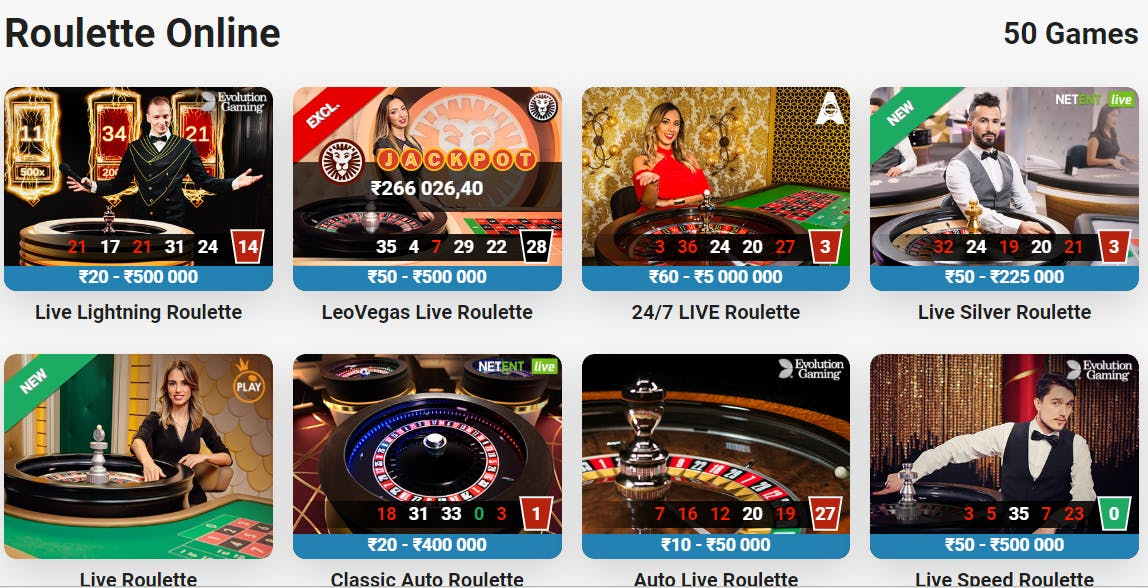 Roulette online - live roulette on LeoVegas India
