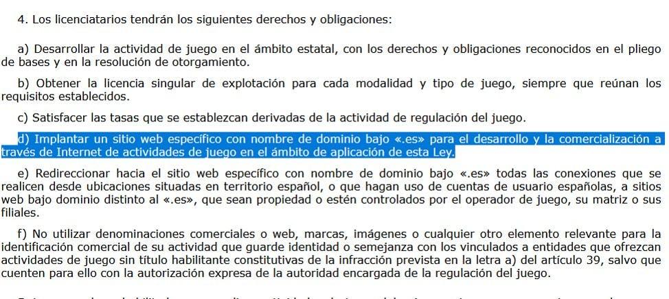 Ley de regulación del juego en España.