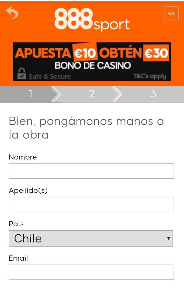 Formulario de registro 888 Chile.