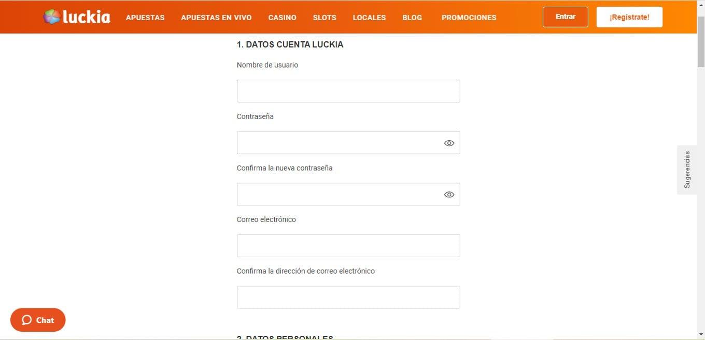Formulario de registro de Luckia Colombia.
