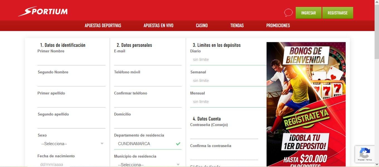 Registrarse en Sportium Colombia
