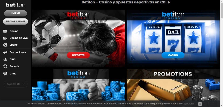 Página de inicio de Betiton Chile.