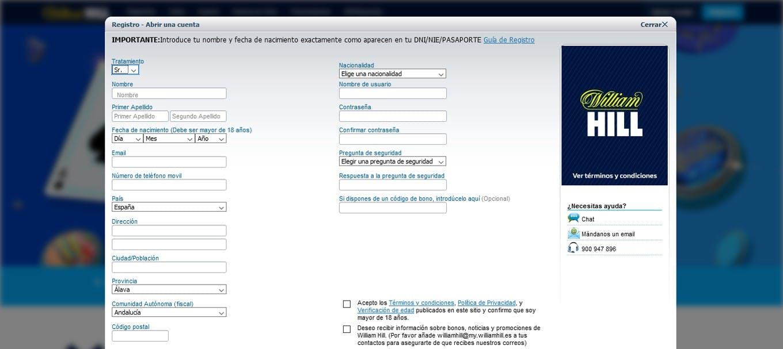 Ejemplo de formulario de registro de una casa de apuestas en España.