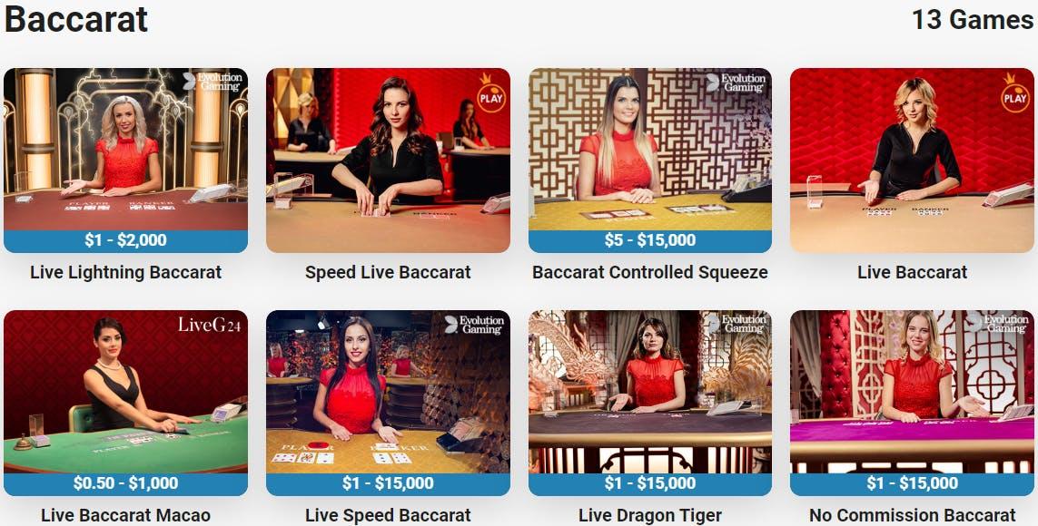 baccarat live casinos in Canada