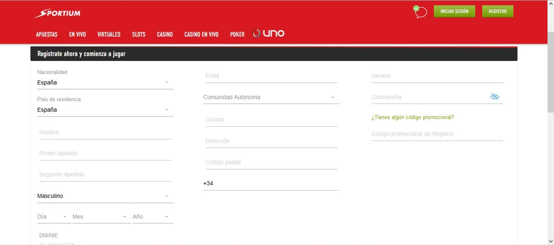 Ejemplo de formulario de registro de un casino online.