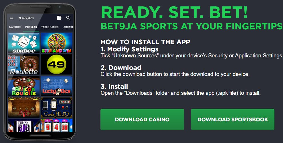 Bet9ja mobile casino app