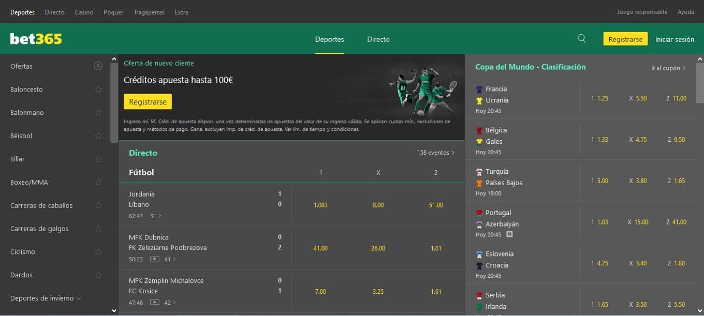 Apuestas deportivas en bet365