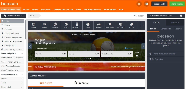 Interfaz de apuestas deportivas de Betsson Chile