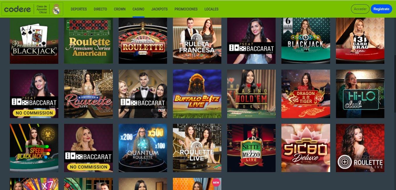 Oferta de casino online de Codere Colombia.