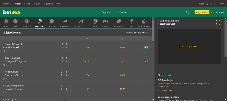 Apuestas en directo bet365