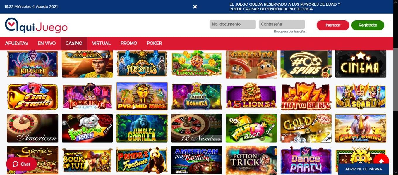 Juegos de casino en Aquijuego