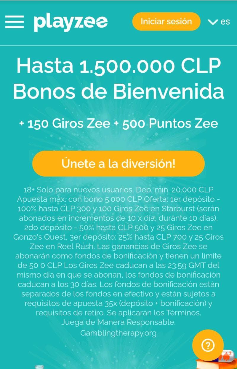 Bono de bienvenida de PlayZee Chile.