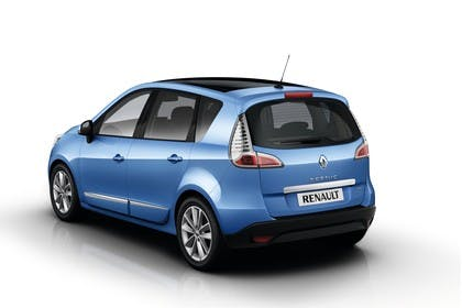Renault Scenic JZ Facelift Aussenansicht Heck schräg statisch Studio blau