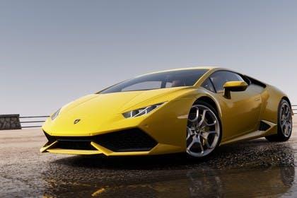 Lamborghini Huracán Aussenansicht Front schräg statisch gelb