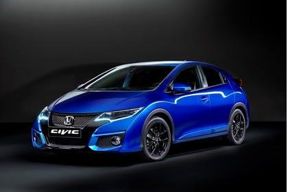 Honda Civic 9 Fünftürer Aussenansicht Front schräg statisch Studio blau