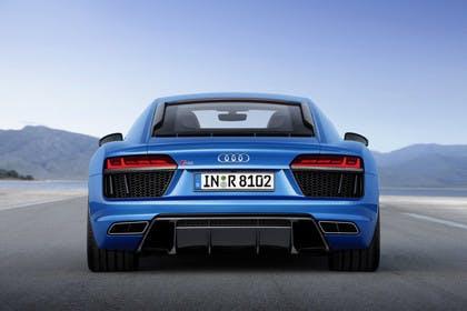 Audi R8 Coupe Aussenansicht Heck statisch blau