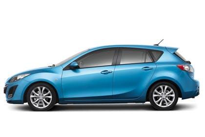 Mazda 3 Fünftürer BL Studio Aussenansicht Seite statisch blau