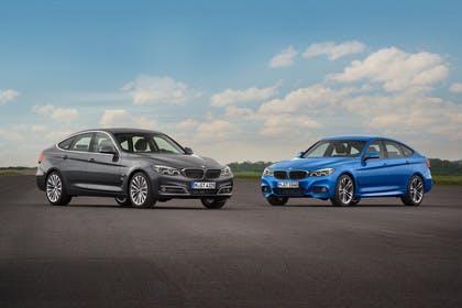 BMW 3er GT F34 Aussenansicht Front schräg zwei Fahrzeuge statisch blau grau