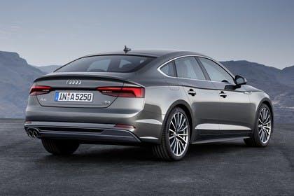 Audi A5 Sportback F5 Aussenansicht Heck schräg statisch grau