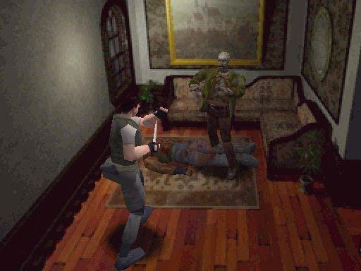 Resident Evil 1 - Screenshot Chris VS Zombie