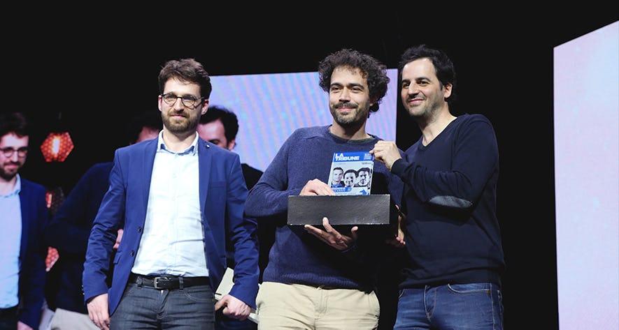 Emmanuel Freund et Stéphane Helliot, deux des trois fondateurs de Shadow, reçoivent le prix de la startup de l'année