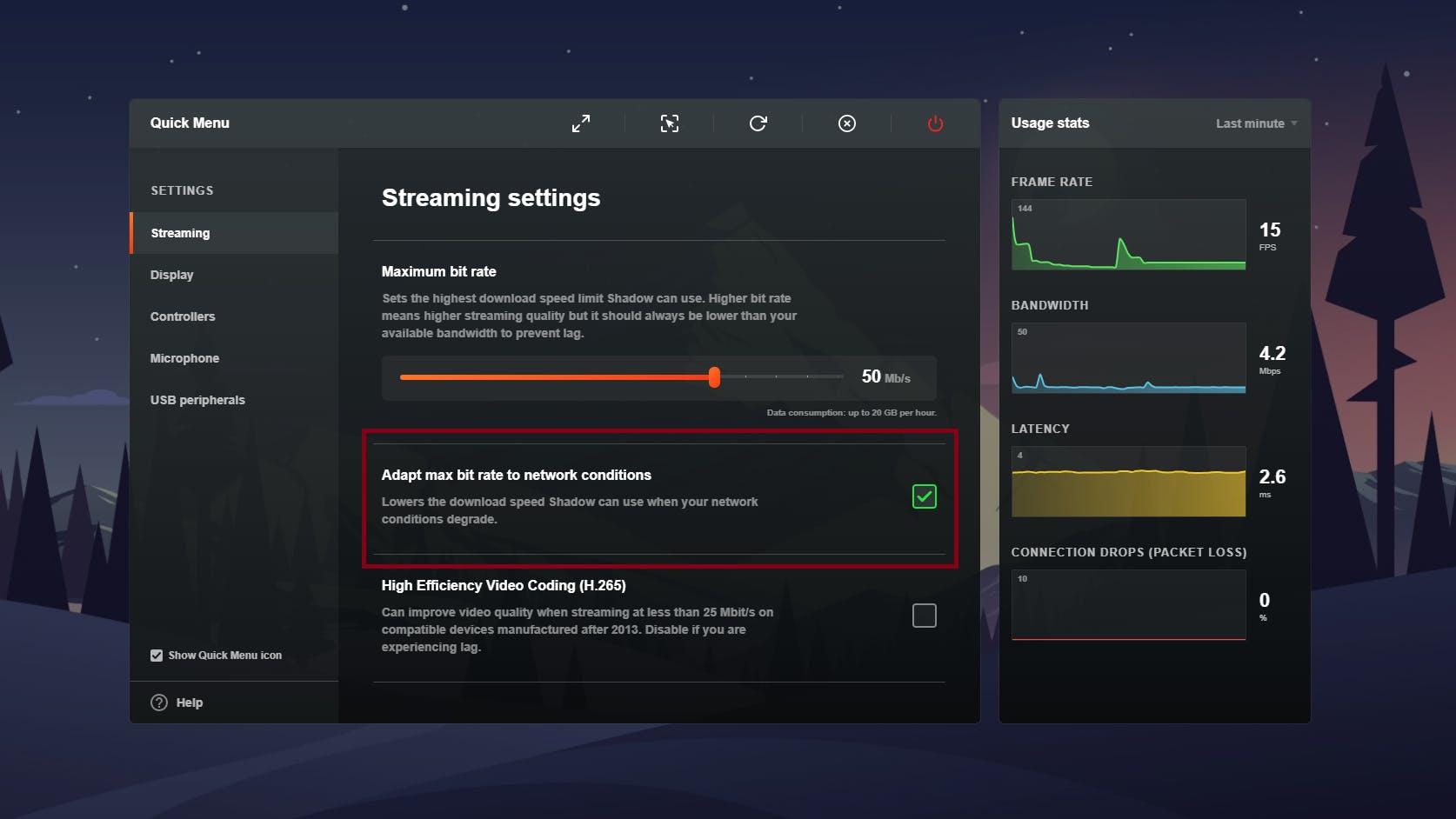 """Öffne das Quick Menu (Alt + Windows/Command/Super + O) und wähle den Abschnitt """"Streaming"""" aus."""