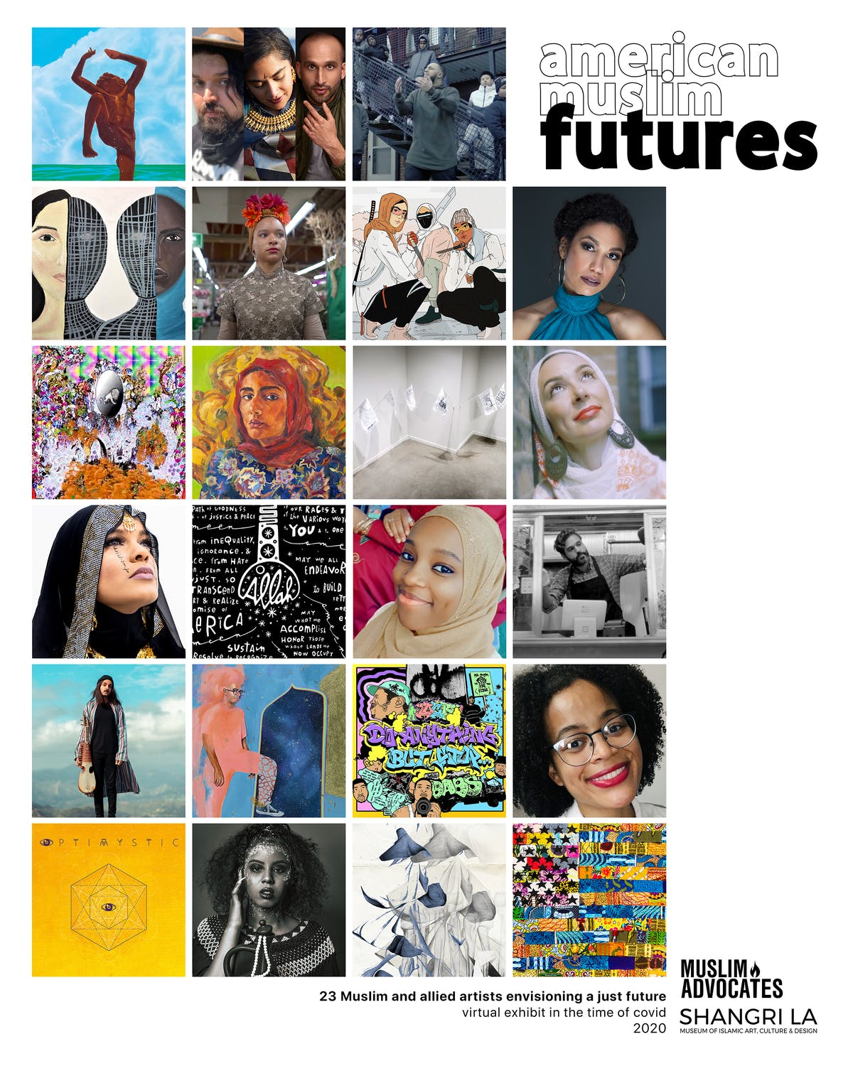 Image of artists and their artwork from the American Muslim Futures exhibition.